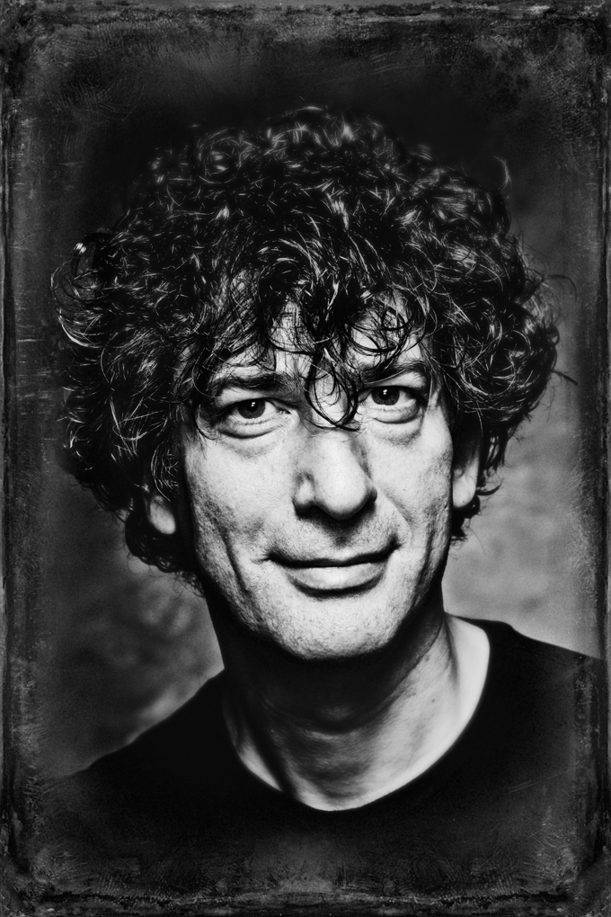 black and white photograph of Neil Gaiman