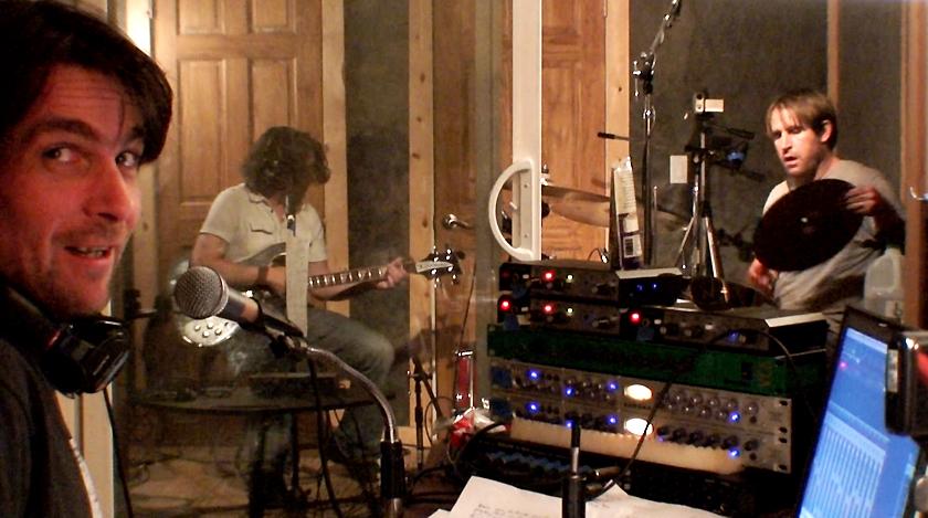 Sebadoh in studio, pic by Jason Loewenstein