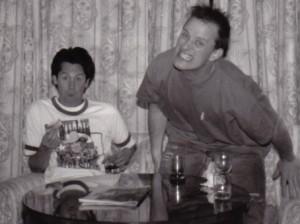 Jordy and Mark goof around, 1993, backstagerider.com photo